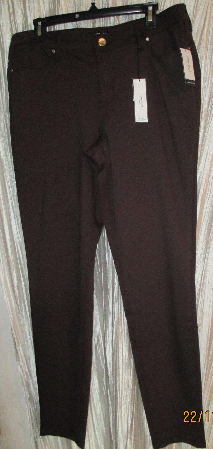 NWT NINE WEST Gramercy Skinny Mid Rise, Dark Brown Soft Sculpt, Jeans, Sz.16R