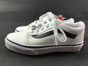 b55bd85913 VANS OLD SKOOL WHITE BLACK LEATHER CLASSIC TUMBLE SKATE SNEAKER ...