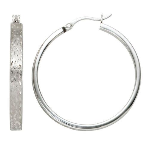 NEU Ø 34 mm große Damen Creolen Creole Silber 925er 925 Ohrringe matt mattiert