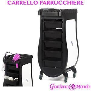 CARRELLO PARRUCCHIERE A A 5 CASSETTI CON RIPIANO PORTA ACCESSORI PROFESSIONALE