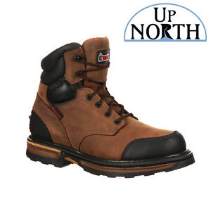 Rocky Elements Wood Steel Toe Puncture Resistant 6 Inch Work Boot Brown RKYK080