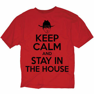 Walking-Dead-Keep-Calm-Stay-In-House-2XL-Red-T-Shirt-AMC-TV-Carl-Grimes-licensed