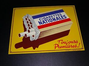 Ancienne-Plaque-Emaillee-CIGARETTES-NATIONALES-ETAT-NEUF