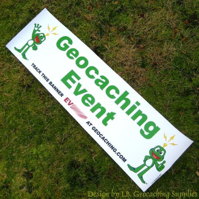 Geocaching Event Banner - Signal the Frog (Trackable, Green Text)