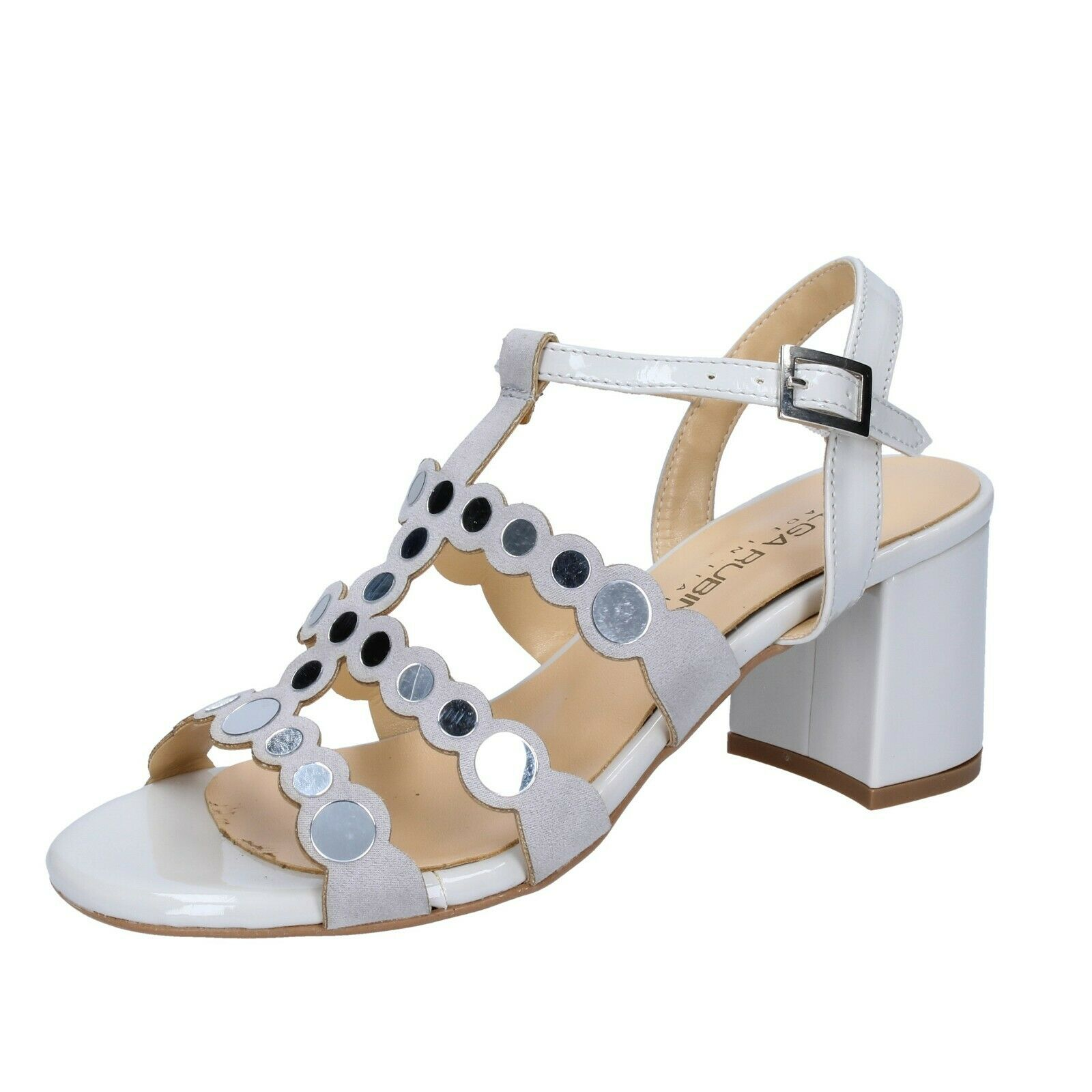 mujer zapatos Olga Rubini 36 EU Sandals gris Patent Suede BS375-36