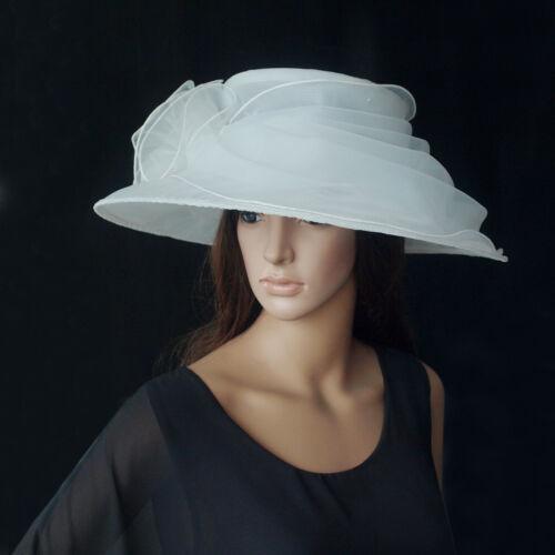 Matrimonio Puro Da Cappello Bianco Donna Di Sposa Organza Elegante PT8gwx 6bec335333d9