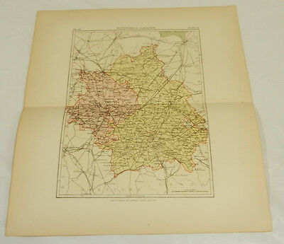 1881 Antique Color Map/huntingdon & Cambridge Europe Maps England