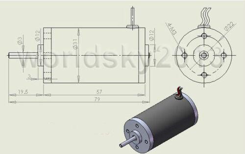 New DC24V 8000RPM Permanent Magnet High Speed DC Carbon Brush Motor for DIY Part