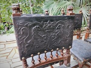 19th-C-ANTIQUE-GOTHIC-EMBOSSED-LEATHER-CHAIR-SET-OF-6-WALNUT-CHAIR-LION-FIGURE