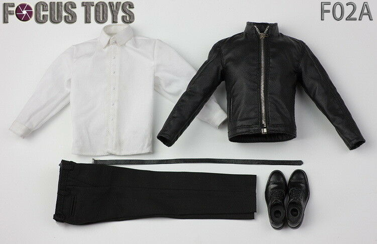 FOCUSTOYS F02A 1 6 Leather Coat Formal Suits Clothing Sets Fit 12  Figure Toys
