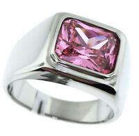 Pink Rose Emerald Cut Stone Solitaire Silver Stainless Steel Mens Ring