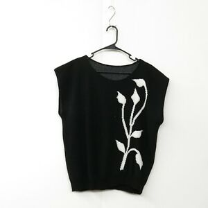 Vtg-80-039-s-Black-White-Floral-Minimalist-Capped-Sleeve-Boxy-Fit-Sweater-Shirt