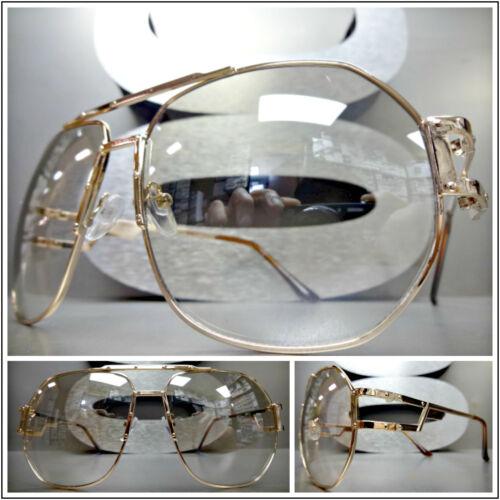 Men/'s OVERSIZED VINTAGE RETRO Style Clear Lens SUN GLASSES Rose Gold Metal Frame