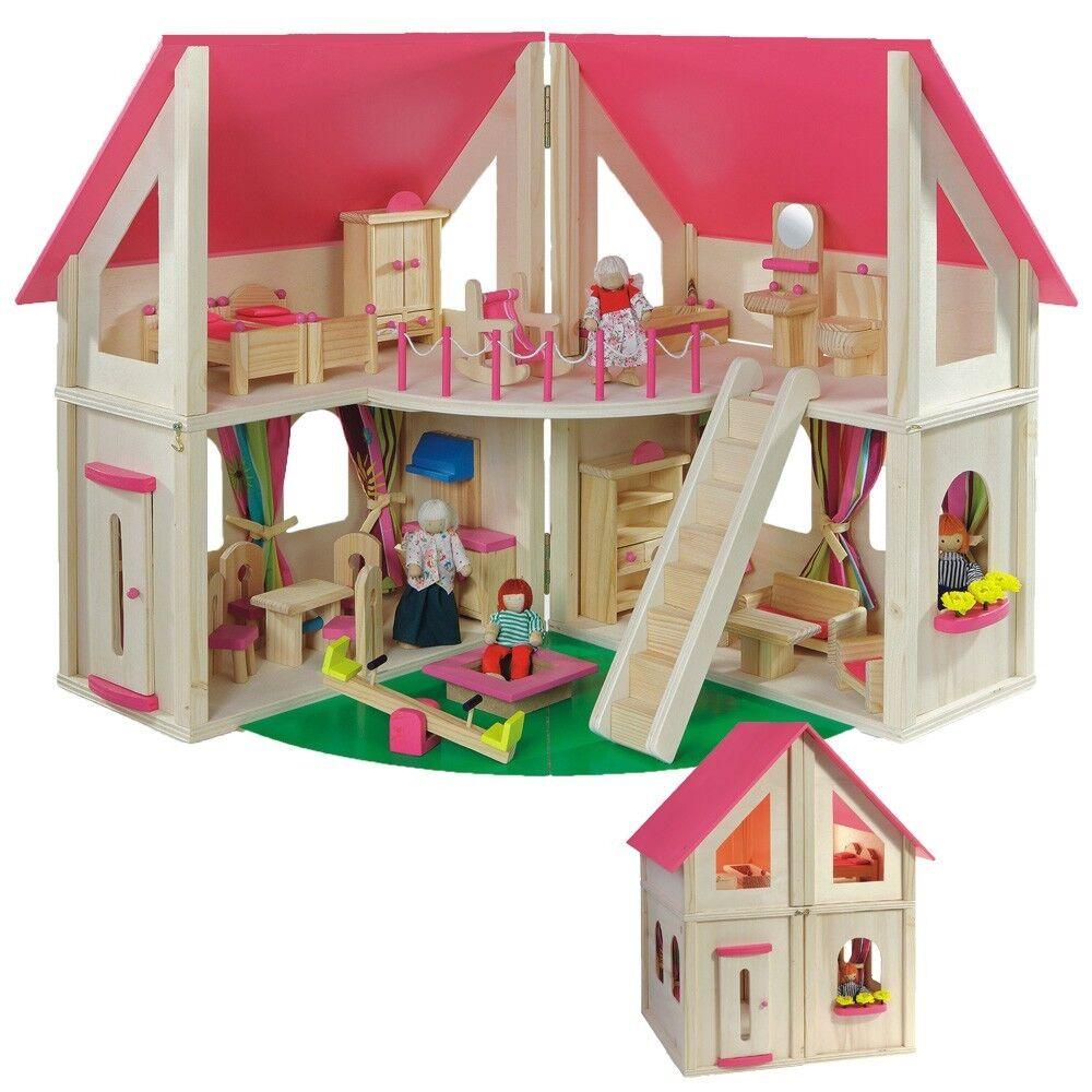 Casa delle bambole  PIEGHEVOLE  con 21 mobili U. bambole di howa