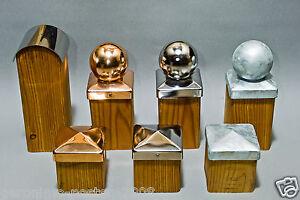 Pfostenkappen-Feuerverzinkt-Edelstal-Kupfer-Pyramide-Kugel-inkl-Schrauben-NEU
