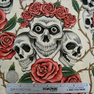 Alexander-Henry-ROSE-TATTOO-Skulls-amp-Roses-Tea-Day-of-the-Dead-Goth-Fabric-Yard
