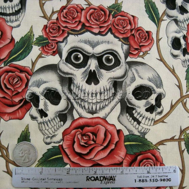 Alexander Henry ROSE TATTOO Skulls & Roses Tea Day of the Dead Goth Fabric /Yard