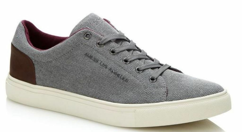 Guess Luiss Grey Red Canvas Mens Trainers shoes