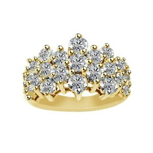 3-00CT-Brilliant-Created-Diamond-Cluster-Engagement-Ring-In-14K-Yellow-Gold-Over