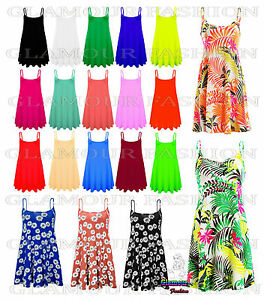 New-Ladies-Camisole-Cami-Flared-Skater-Womens-Strappy-Vest-Top-Swing-Mini-Dress