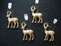4 x Gold Glitter Deer Reindeer Hanging Decorations Christmas tree Baubles 12cm