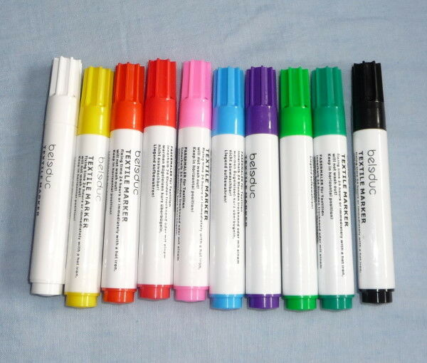 10 Textilmalstifte,Stoffmalstifte,Textilstifte, Stifte Beleduc Bemalen von Stoff