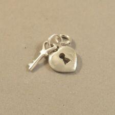 .925 Sterling Silver HEART W/ KEYHOLE & KEY CHARM Pendant NEW Padlock 925 HR14