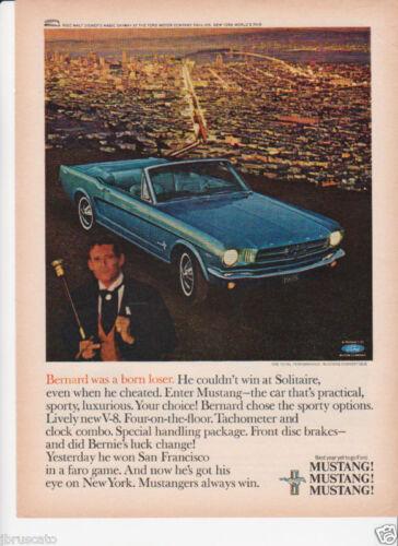 SUPER NICE 1965 WORLDS FAIR FORD MUSTANG BLUE CONVERTIBLE 64 1//2 ORIGINAL AD