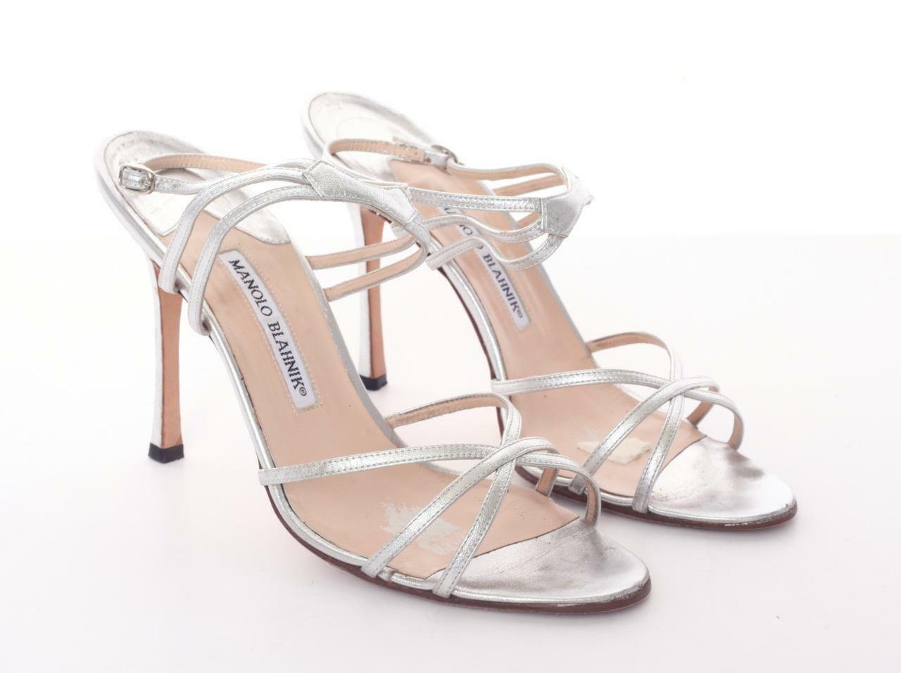 MANOLO BLAHNIK Silber Leather High Heel Multi-Strap Sandal Pump schuhe schuhe schuhe 10-40 a37d59
