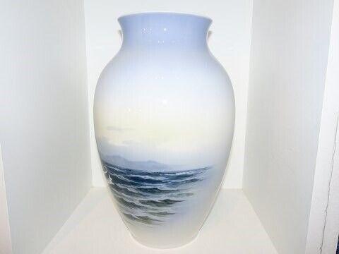 Porcelæn, Royal Copenhagen  Stor vase med sejlbåd, Royal