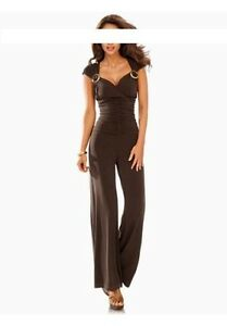 best sneakers af3c3 3ba18 Details zu Ashley Brooke Overall Gr.36,38,40 Braun Damen Anzug Jumpsuit  Stretch Party L32