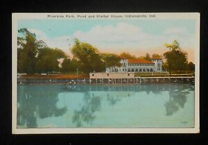 1920s-Riverside-Park-Pond-and-Shelter-House-Indianapolis-IN-Marion-Co-Postcard