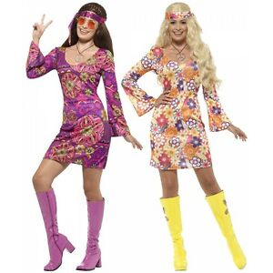 Image is loading Hippie-Costume-Adult-60s-70s-Girl-Halloween-Fancy-  sc 1 st  eBay & Hippie Costume Adult 60s 70s Girl Halloween Fancy Dress | eBay