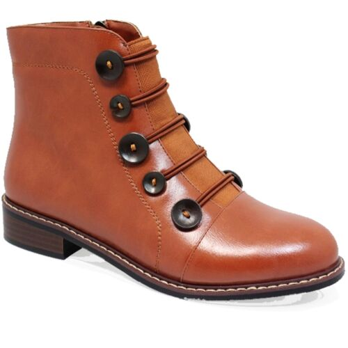 GLC649 Sinead Side Zipper Faux Leather Elasticated Ankle Button Boots
