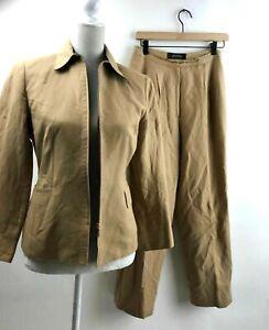 Kasper-Womens-Petite-Sz-4-Pleated-Pant-Suit-Linen-Tan-Career-Jacket-Blazer-4P