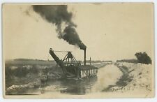 RPPC Steam Shovel, Dredge Digging ERIE CANAL PA OH Ohio Real Photo Postcard