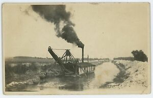 RPPC-Steam-Shovel-Dredge-Digging-ERIE-CANAL-PA-OH-Ohio-Real-Photo-Postcard