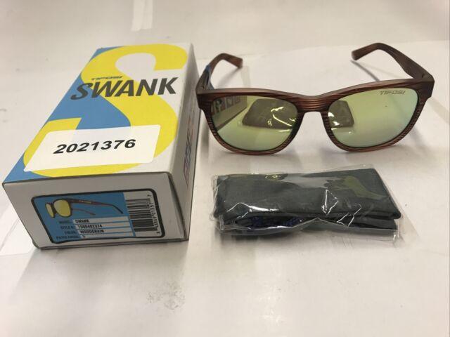 Tifosi Swank Sunglasses - Woodgrain Frame with Smoke Yellow Lenses