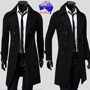 18c26b45db86 Plus Men's Black Winter Suit Windbreaker Coat Double Breasted Long ...