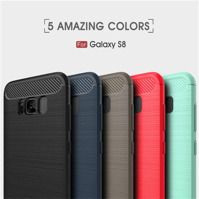 Carbon Fiber Texture Slim TPU Back Cover Case For Samsung Galaxy S8 / S8 Plus