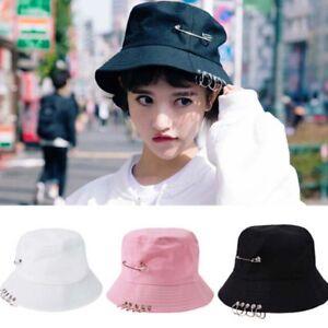 219a2363081 Unisex Women Men Bucket Hat Pin Rings Sunhat Caps Summer Hats MAEK ...