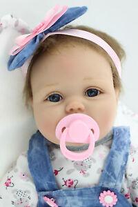 55cm-Silikon-Lebensecht-M-dchen-Reborn-Baby-Puppe-Babypuppe-mit-Kleider-Nippel