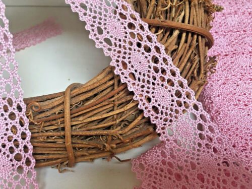 "Vintage Style Pretty 1.25/""//3.5cm Mid Pink Crochet Lace Trim.Sewing//Crafts"