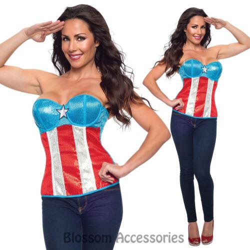 CL12 Sequined Superhero Hero Corset Bustier Top Women Fancy Halloween Costume