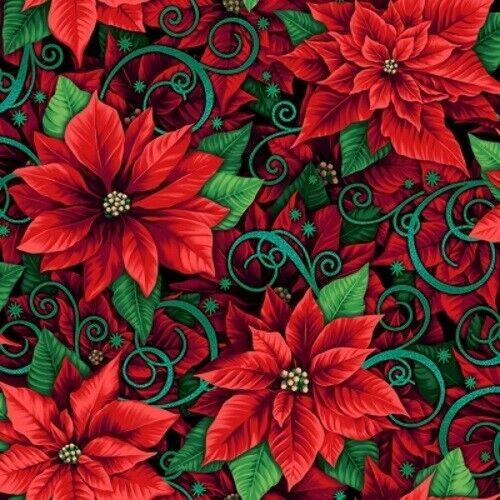 RJR Fabrics Evergreen RJ 602 HO1M Prized Poinsesttia Metallic Cotton