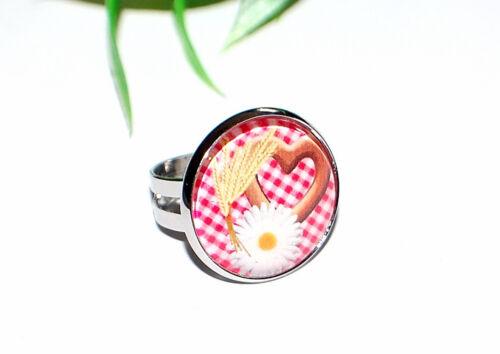 Bávara joyas anillo Trachten joyas corazón pretzel vidrio cabujon selección + +