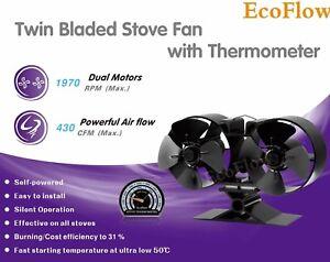 Ordonné Nouveau 2018 Mini 8 Lame Heat Powered Stove Fan Par Ecoflow Avec Gratuit Thermomètre-afficher Le Titre D'origine ModèLes à La Mode