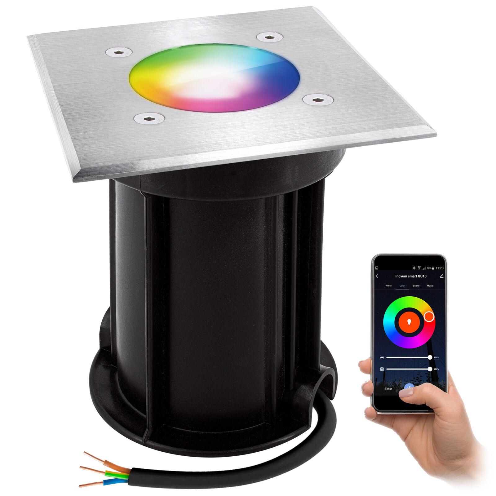 BOQU LED Bodenleuchte IP67 Smart GU10 dimmbar RGB & Weißtöne 5W App WLAN Alexa