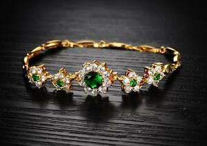 18K-Yellow-gold-GF-Lab-Diamond-Accent-Green-Emerald-Soild-Bangle-bracelet