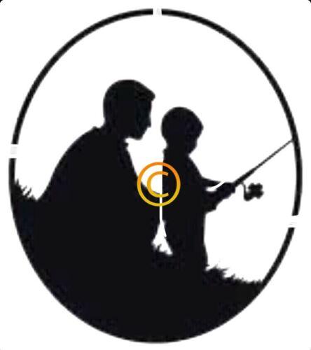 Father Son Fishing Silloutte Stencil